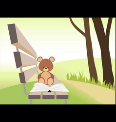 open book and bear toy on bench at sunset park vector image vector image