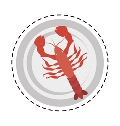 Red lobster sealife top view on dish vector