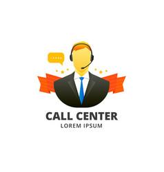 call center avatar emblem vector image