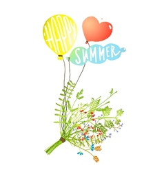 Colored Balloons and Bouquet Happy Summer Sign vector image