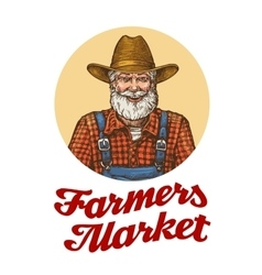 Farmers market logo or icon Farmer in hat vector image