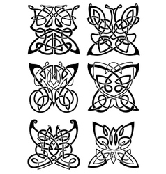 Celtic tattoos of black butterflies vector image vector image