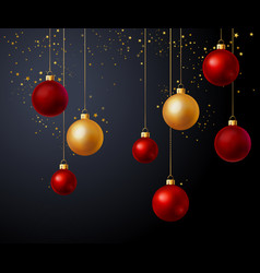christmas gold and red balls over black background vector image vector image