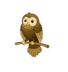 Cute hand-drawn grey owl vector image