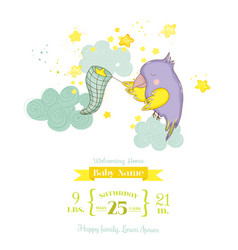 cute parrot catching stars baby shower card vector image