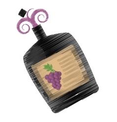 Drawing big wine bottle liquid drink grape vector
