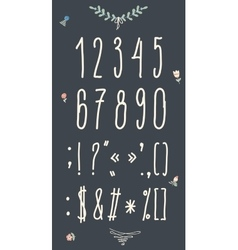 Hand drawn sketch numbers Handwritten font vector image