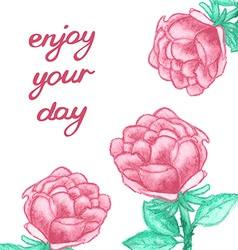 Inspirational card with watercolor roses vector image