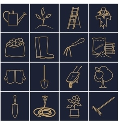 Line Gold Icons Gardening Equipment vector image vector image