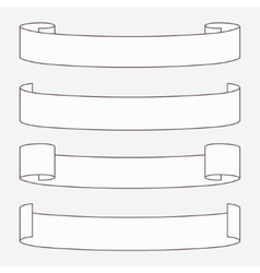 Set of white horizontal scrolls vector image