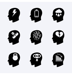 Stress and depression icon set vector image