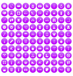 100 human health icons set purple vector