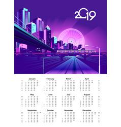 2019 neon city calendar vector