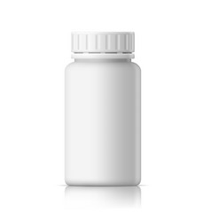 3d realistic white glossy medical plastic bottle vector image