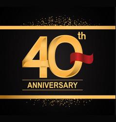 40 years anniversary logotype with premium gold vector