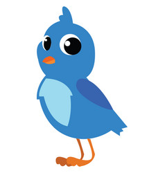 a cute little small bird with blue feathers and vector image