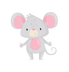 Adorable mouse with shiny eyes cartoon rodent vector