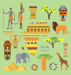 african symbols travel safari icon element vector image