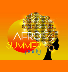 afro summer party black african head woman turban vector image