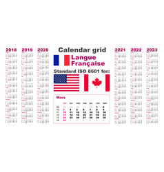 American calendar standard us french gaulish vector