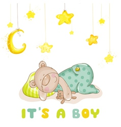 Baby Arrival Card - Sleeping Baby Bear and Stars vector image