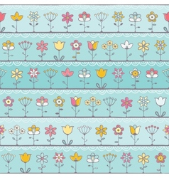 Baby blue background with cute flowers vector image