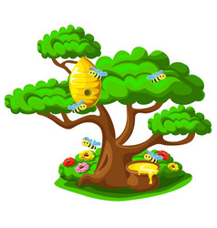 Beehive on a tree with merry bees vector