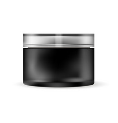 black glass cream jar isolated on white background vector image