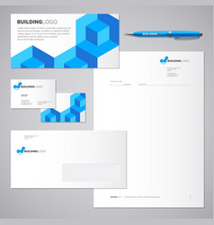 Blue brick building logo and identity vector