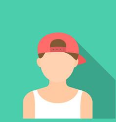 Boy in cap icon flat single avatarpeaople icon vector