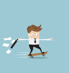 businessman hurry on skateboard vector image