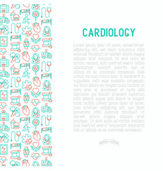 cardiology concept with thin line icons set vector image