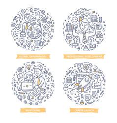 career leadership doodle vector image