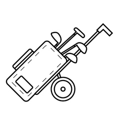 Cart for golf clubs icon outline style vector