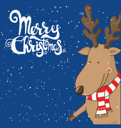 cartoon for holiday theme with deer on winter vector image