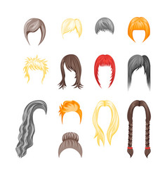 Cartoon hairstyles woman set vector