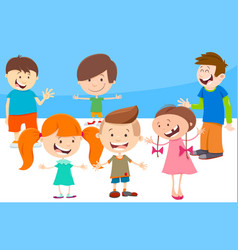 cartoon kids comic characters group vector image
