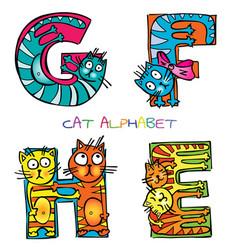 Cat alphabet e f g h vector