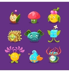 Childish Alien Fantastic Alive Plants Emoji vector