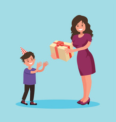 children s birthday mom gives son a present vector image