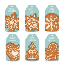 Christmas labels collection with gingerbread vector