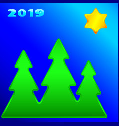 Christmas trees and star 2019 vector