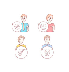 clock guitar and multichannel icons face vector image