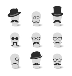 Collection of vintage mustaches hats and glasses vector image