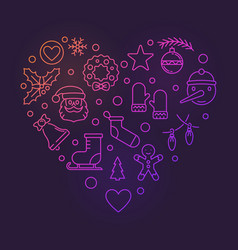 colorful heart of new year outline icons vector image