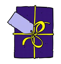 comic cartoon wrapped present vector image