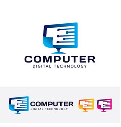 Computer digital technology logo design vector