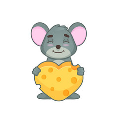 cute mouse with hearth vector image