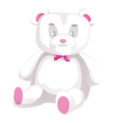 Cute white teddy bear isolated on white vector