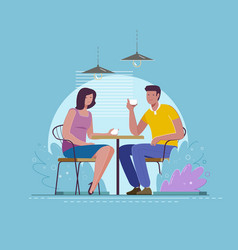 date at cafe a young man and woman are vector image